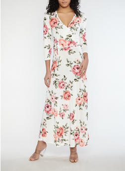 Floral Faux Wrap Front Maxi Dress - 1096074012010