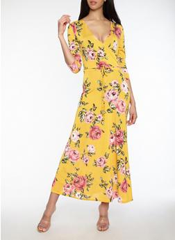 Floral Faux Wrap Maxi Dress - 1096074012011