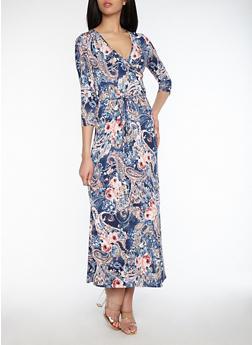 Floral Paisley Print Faux Print Dress - 1096074012012