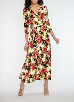 Floral Faux Wrap Maxi Dress - 1096074012013