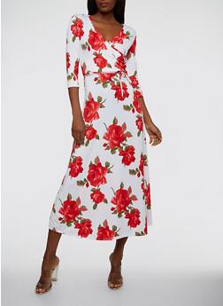 Floral Faux Wrap Maxi Dress - 1096074012014