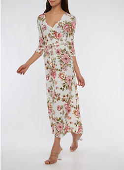 Floral Faux Wrap Maxi Dress - 1096074012015