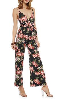 Belted Floral Slit Leg Palazzo Jumpsuit - 1096074012016
