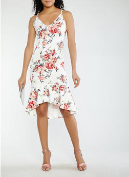 Floral High Low Bodycon Dress - 1096074013028