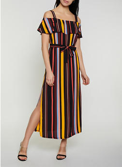 Striped Off the Shoulder Tie Waist Maxi Dress - 1096075170020