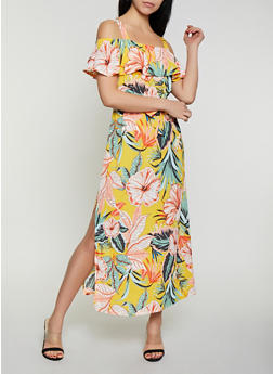 Tropical Print Off the Shoulder Maxi Dress - 1096075170120