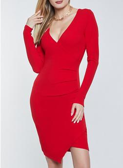 Textured Knit Faux Wrap Bodycon Dress - 1096075173052