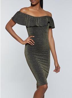 Off the Shoulder Lurex Dress - 1096075173100