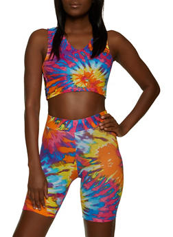 Tie Dye Crop Top and Bike Shorts Set - 1097038340706