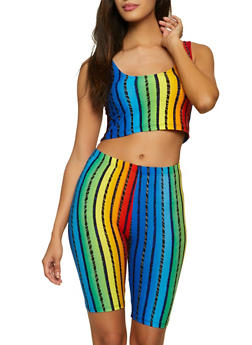 Rainbow Striped Crop Top and Bike Shorts Set - 1097038340709