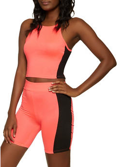 Side Stripe Crop Top and Bike Shorts Set - 1097038340711