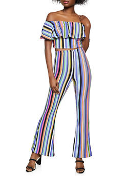 Striped Off the Shoulder Top with Flared Pants - 1097038340713