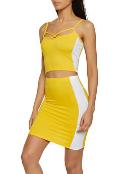 Color Block Caged Tank Top and Skirt Set - 1097038349743