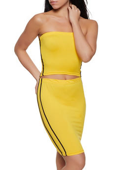 Varsity Stripe Tube Top and Pencil Skirt Set - 1097038349744