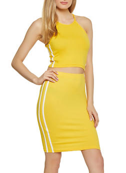 Varsity Stripe Crop Top and Skirt Set - 1097038349745