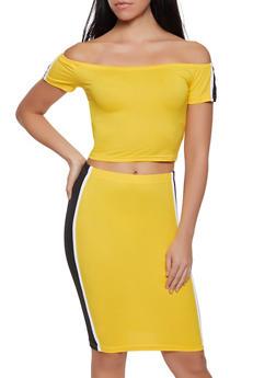 Side Stripe Off the Shoulder Top and Skirt Set - 1097038349746