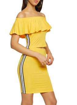 Ruffled Off the Shoulder Tape Trim Top and Skirt Set - 1097038349748