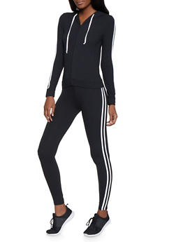 Varsity Stripe Soft Knit Sweatshirt and Leggings Set - 1097061630131