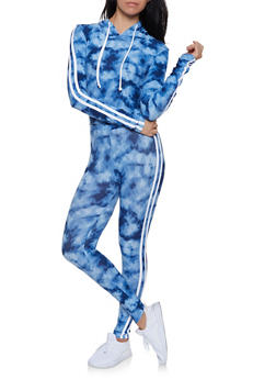 Tie Dye Hooded Top and Leggings Set - NAVY - 1097061630140