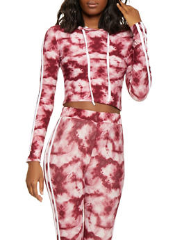 Tie Dye Hooded Top and Leggings Set - RED - 1097061630140