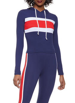 Color Block Hooded Top and Leggings Set - NAVY - 1097061630156