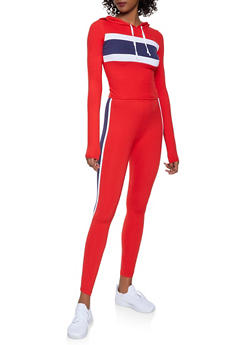 Color Block Hooded Top and Leggings Set - RED - 1097061630156