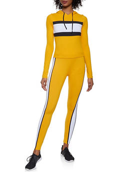 Color Block Hooded Top and Leggings Set - MUSTARD - 1097061630156