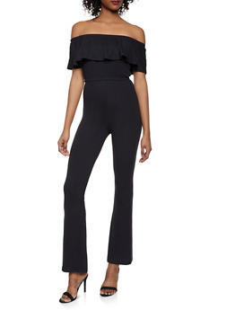 Off the Shoulder Crop Top and Flared Pants Set - BLACK - 1097061630157