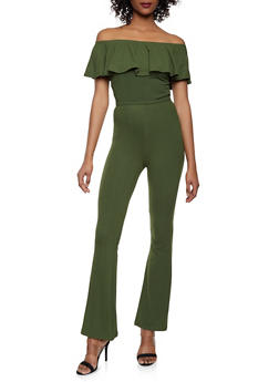 Off the Shoulder Crop Top and Flared Pants Set - OLIVE - 1097061630157