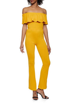 Off the Shoulder Crop Top and Flared Pants Set - MUSTARD - 1097061630157
