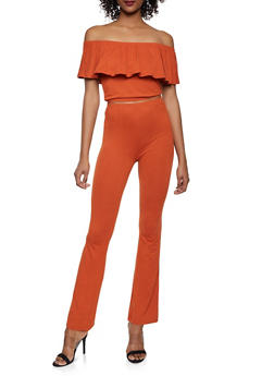 Off the Shoulder Crop Top and Flared Pants Set - RUST - 1097061630157