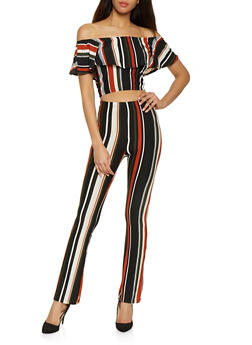 Striped Off the Shoulder Top and Flared Pants Set - ORANGE - 1097061630158