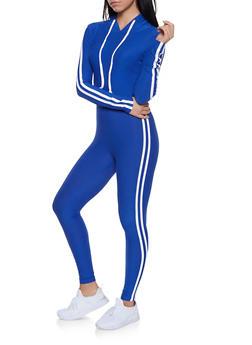 Varsity Stripe Hooded Top and Leggings Set - 1097061631260