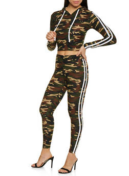 Varsity Stripe Camo Hooded Top and Leggings Set - OLIVE - 1097061631261