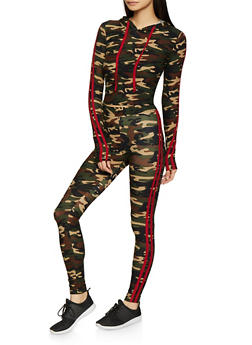 Varsity Stripe Camo Hooded Top and Leggings Set - RED - 1097061631261