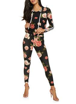 Varsity Stripe Floral Hooded Top and Leggings Set - 1097061631262