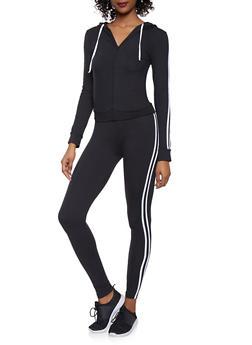 Varsity Stripe Sweatshirt and Leggings Set - 1097061631310