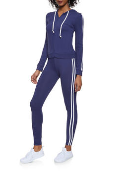 Varsity Stripe Sweatshirt and Leggings Set - 1097061631310