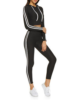 Hooded Varsity Stripe Top and Leggings Set - 1097061632260