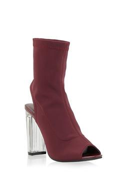 Clear Heel Peep Toe Bootie - BURGUNDY - 1106070402533