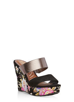 Foil Floral Double Strap Wedges Sandals - BLACK F/S - 1110004062356