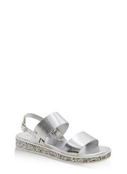 Double Strap Platform Sandals - SILVER MPU - 1110004062377