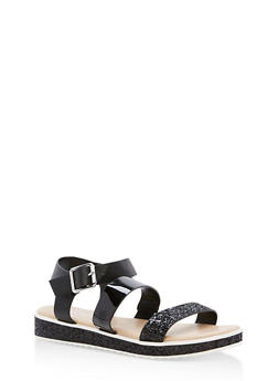 Double Banded Glitter Trim Sandals - BLACK CRP - 1110004062378