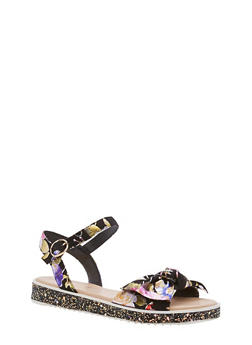 Bow Strap Low Platform Sandals - BLACK FAB - 1110004062380