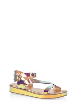 Asymmetrical Strap Platform Sandals - 1110004062381
