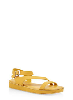 Asymmetrical Strap Platform Sandals - YELLOW - 1110004062381