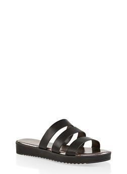 Triple Band Slide Sandals - BLACK - 1110004062382