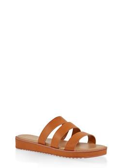 Triple Band Slide Sandals - TAN - 1110004062382