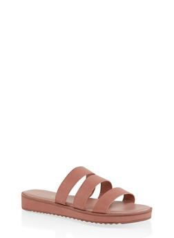 Triple Band Slide Sandals - BLUSH - 1110004062382