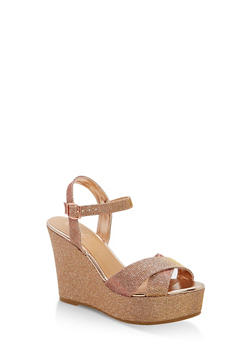 Glitter Wedge Sandals - ROSE GOLD GLITTER - 1110004062490